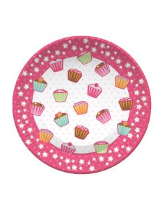 """9"""" Cup Cakes Plates 8ct"""