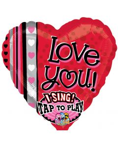 "28"" Love You Dots & Stripes Singing Balloon"
