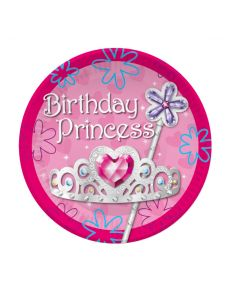 "7"" Birthday Princess Plates 8ct"