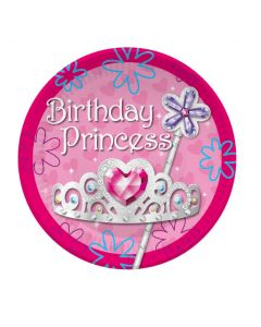 "9"" Birthday Princess Plates  8ct"
