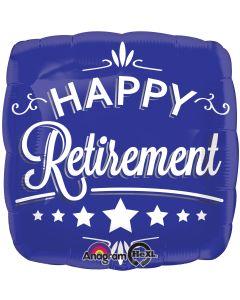 "18"" Happy Retirement Blue Sq Pk"