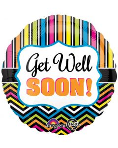 "18"" Chevron Stripes Get Well Pkg"