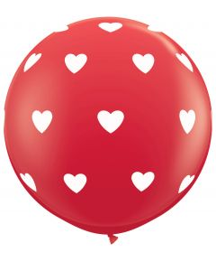 3' Big Polka Hearts Around Red 1ct