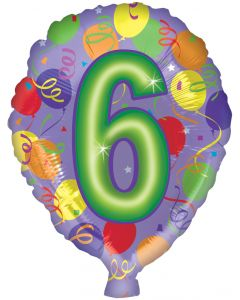 "18"" #6 Numbered Balloon"