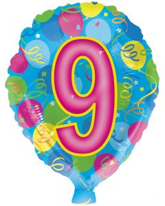 "18"" #9 Numbered Balloon"