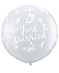 3' Just Married Butterflies Clear w White Ink 1ct