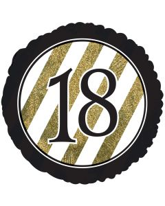 "18"" 18th B'day Glitter Black & Gold"