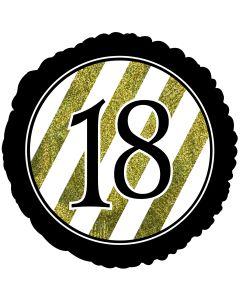 "18"" 18th B'day Glitter Black & Gold Pkg"