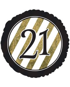 """18"""" 21st B'day Glitter Black & Gold"""