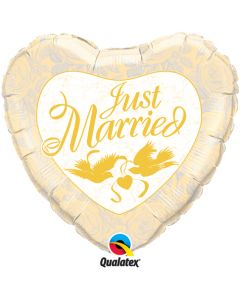 "36"" Just Married Pwh & Gold--"