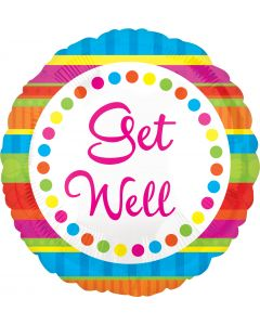 "18"" Get Well Stripes & Dots"