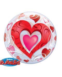 """22"""" Red Hearts & Filigree Bubble"""