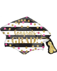 "31"" Gold Sparkled Grad Cap"