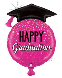 "38"" Glittering Pink Graduation"