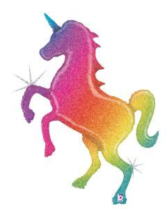 """54"""" Glittering Rainbow Unicorn"""