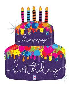 """30"""" Paint Splatter B'day Cake"""