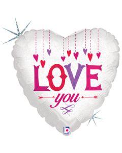 """18"""" Falling Hearts Love Pkg"""