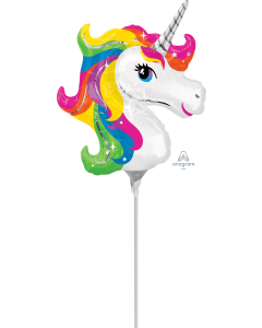 "14"" Rainbow Unicorn inflated with stick"