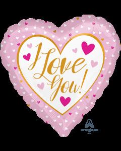 "18"" Love Hearts Pink & Gold Pkg"