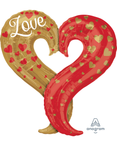 """30"""" Gold & Red Love Heart"""