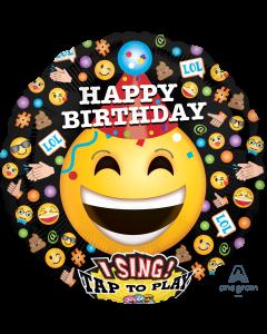 """28"""" Smiling Emojis B'day Singing Balloon"""