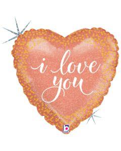 """18"""" I Love You Rose Gold Pkg"""