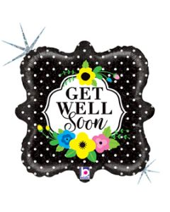 "18"" Flowers & Dots Get Well Pkg"