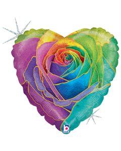 """18"""" Rainbow Glitter Rose Pkg"""