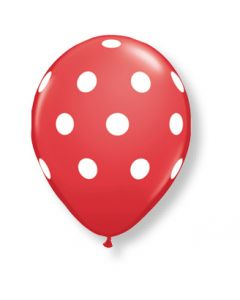 "11"" Big Polka Dot Red w/ white ink 50ct"