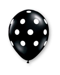 """11"""" Big Polka Dots Onyx Black w/ white ink 50ct"""
