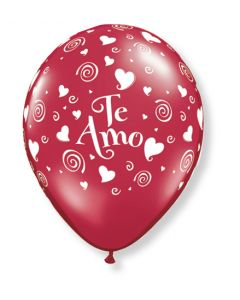 """11"""" Te Amo Swirling Hearts Ruby Red 50ct"""