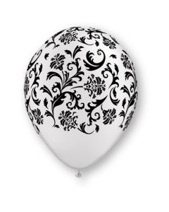 "11"" Damask Print Pearl White w Blk Ink 50ct"