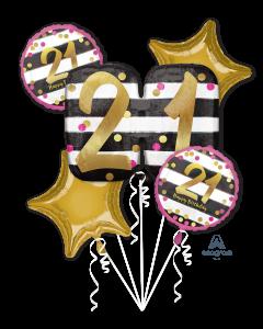 21 Pink & Gold Celebration Bouquet
