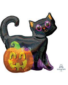 "28"" Sparkling Black Cat & Pumpkin"