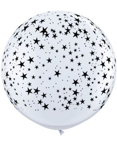 3' Stars Around White with Black Ink  1ct