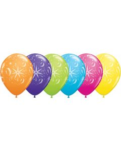 "11"" Sparkles & Balloons Tropical Assort 50ct"