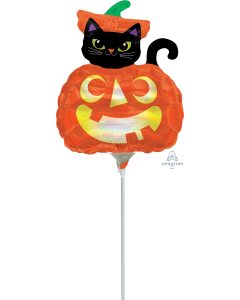 "14"" Iridescent Cat & Pumpkin"