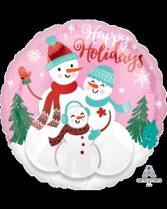 """18"""" Happy Holidays Snow Family"""