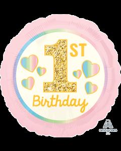"18"" 1st B'day Pink & Gold Pkg"