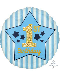 """18"""" 1st B'day Blue & Gold Pkg"""