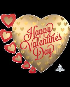 """24"""" Satin Pretty Valentine Gold Hearts"""
