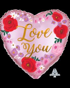 "18"" Satin Painted Floral Love Pkg"