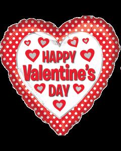 """18"""" White Dots & Hearts Valentine"""