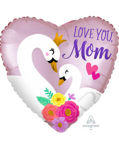 "18"" Satin Love Mom Swans"