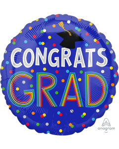 "28"" Congrats Grad Colorful Dots"