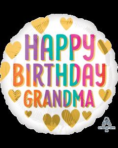 "18"" Grandma B'day Gold Hearts  Pkg"