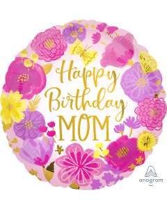 """18"""" Mom Painted Flowers B'day  Pkg"""