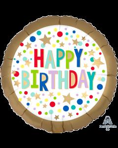 "18"" Gold Satin Dots Birthday Pkg"
