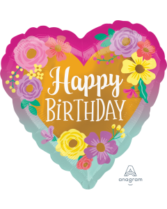 """18"""" Painted Flowers B'day Pkg"""