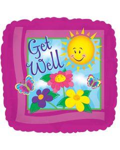 """18"""" Get Well Sun & Flowers"""